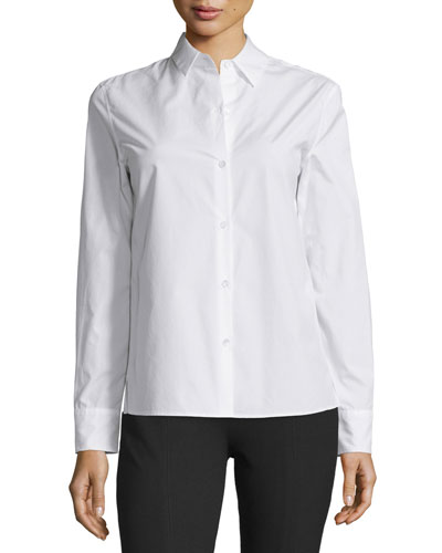 Poppy Cotton Button-Front Shirt, White