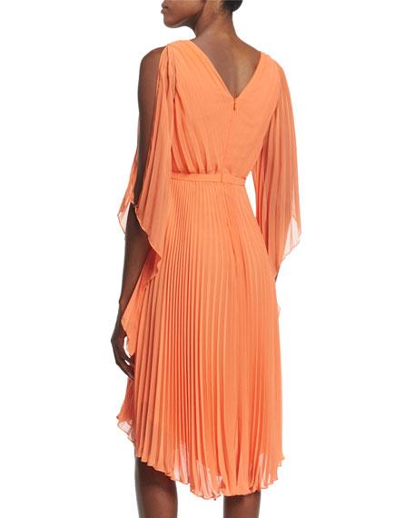 Cold-Shoulder Pleated Dress, Mandarin