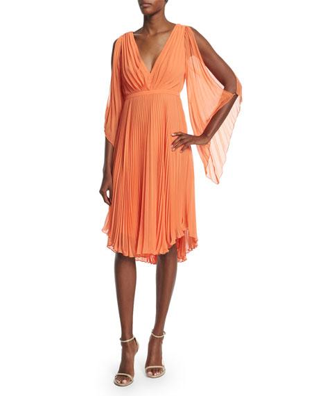 Halston Heritage Cold-Shoulder Pleated Dress, Mandarin
