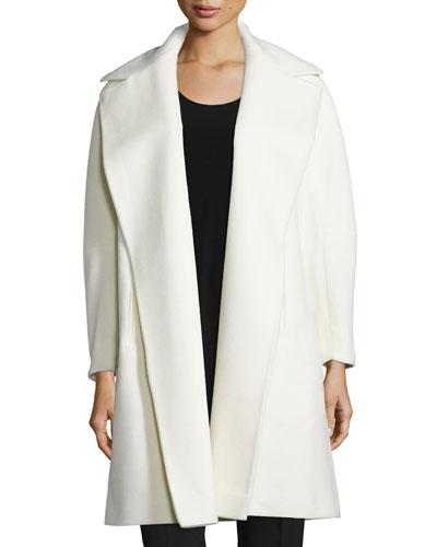 A-line Open-Front Wool Coat