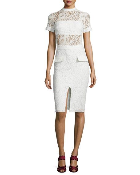 Asia Short-Sleeve Lace Sheath Dress, White