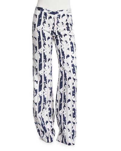 Beau Blossom Wide-Leg Pants, Navy/White