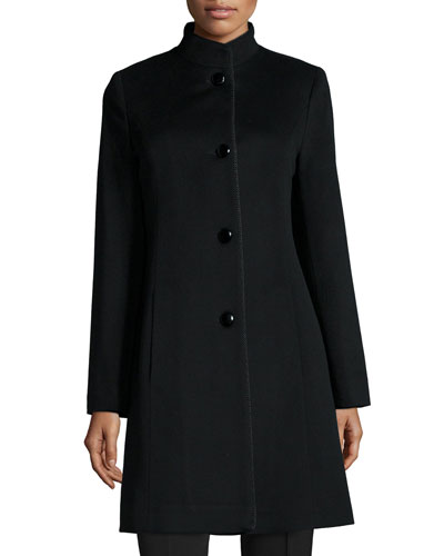 Stand Collar Wool-Blend Coat W/ Piping