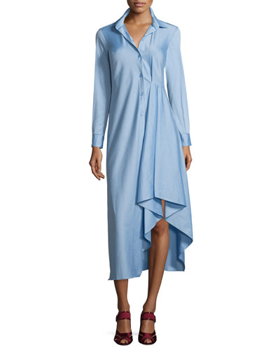 Long-Sleeve Drew Satin Shirtdress, Blue