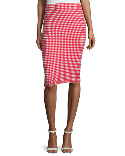 Gingham Stretch Pencil Skirt, Red/White