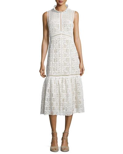 Sleeveless Crochet-Lace Midi Dress, Off White