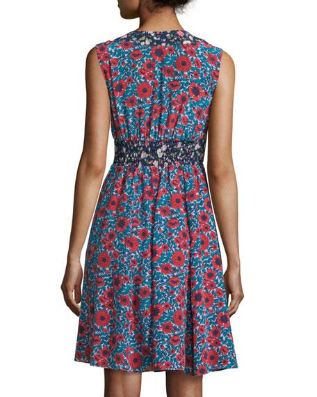 Lindsay Sleeveless Floral Silk Dress