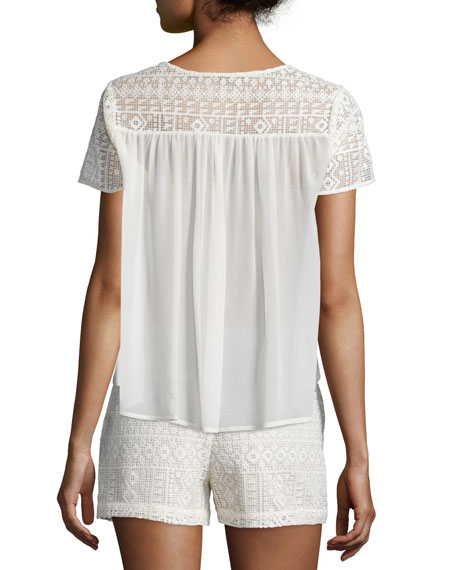 Sevan Geometric-Lace Top, Antique White