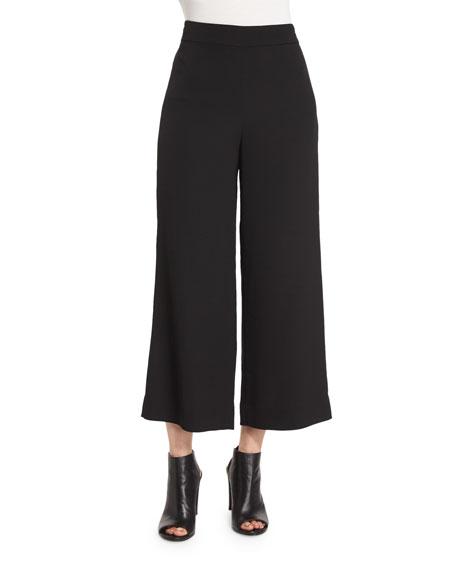 Cropped Wide-Leg Pants, Black
