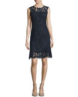 Harlow Sleeveless Lace Dress, Starg/Navy