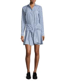 Long-Sleeve Striped Cotton Tie-Waist Shirtdress, Midnight/Soft White