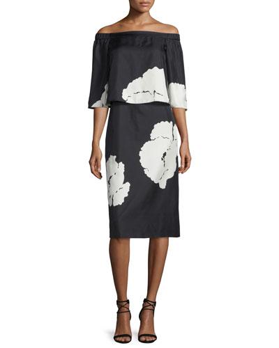 Amara Printed Popover Dress, Black