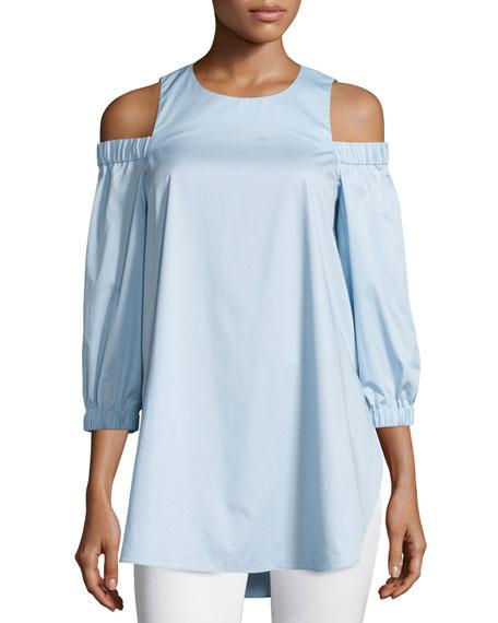 Satin Poplin Cold-Shoulder Blouse, Morning Blue