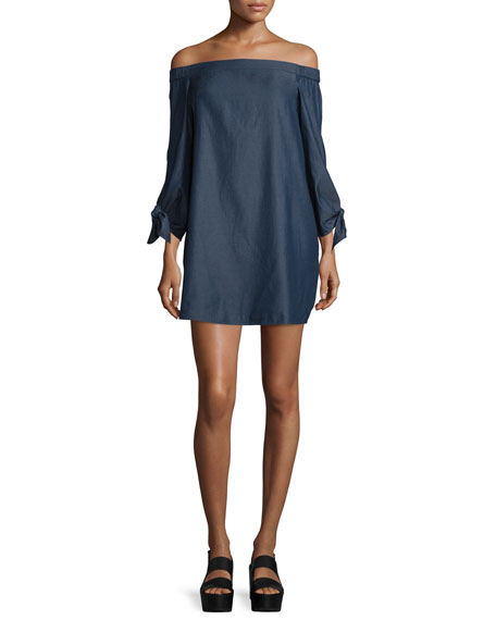 Chambray Off-the-Shoulder Mini Dress, Dark Denim
