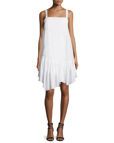 Sleeveless Pleated Silk Shift Dress, Ivory