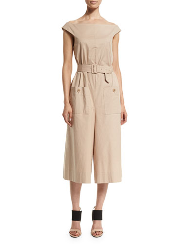 Esteban Off-the-Shoulder Twill Jumpsuit, Sand Dollar