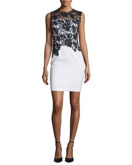 Weslee Sheath Dress with Lace Bodice