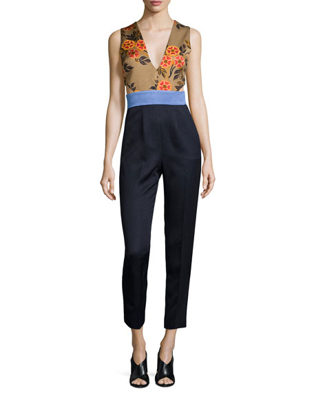 Sleeveless Floral-Combo Colorblock Jumpsuit, Navy