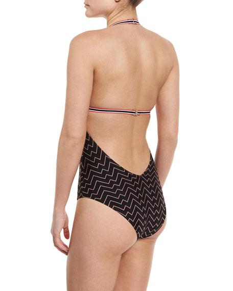 Zigzag Low-Back One-Piece Swimsuit, Black