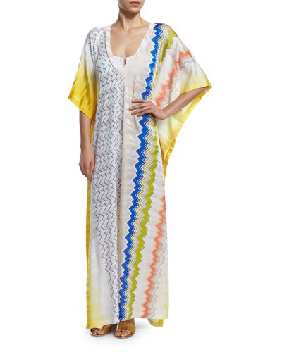 Zigzag-Print Long Caftan Coverup