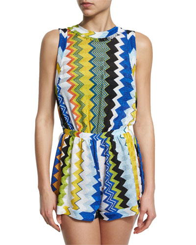 Metallic-Knit Zigzag Sleeveless Romper