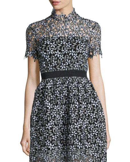 Daisy Lace Short-Sleeve Cropped Tee, Black/White