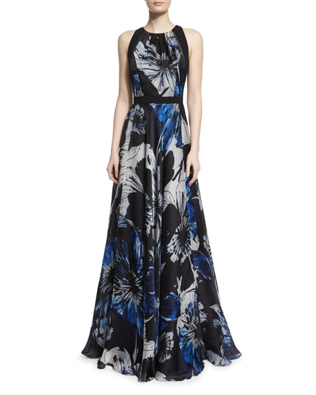 Carmen Marc Valvo Sleeveless Jewel-Neck Floral Ball Gown