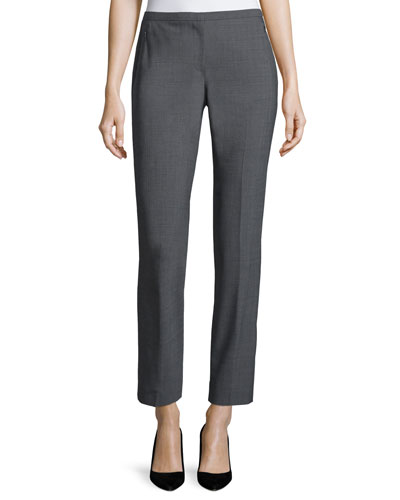 Jillian Slim-Leg Ankle Pants, Gray Melange