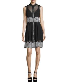 Sleeveless Collared Silk Dress, Black