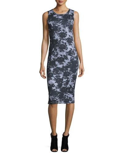Sleeveless Floral Trompe l'Oeil Jersey Dress