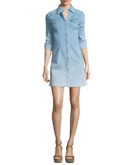 Jacqueline Button-Front Chambray Shirtdress, Crane