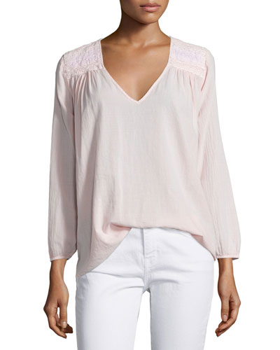 The Picnic V-Neck Shirt, Forever Pink