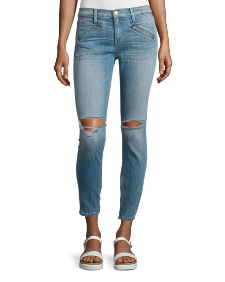 Current/Elliott The Silverlake Zip Cropped Skinny Jeans, Ticker