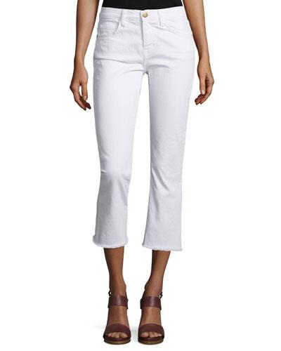 The Kick Slim-Fit Cropped Jeans, Sugar W/Raw Hem