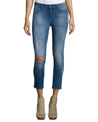 Florence Distressed Skinny Cropped Jeans, Punk