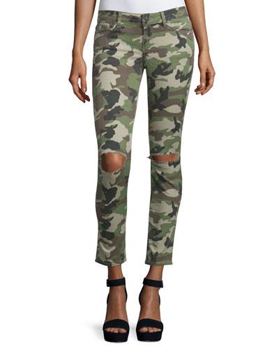 Emma Camouflage Distressed Skinny Jeans, Warden