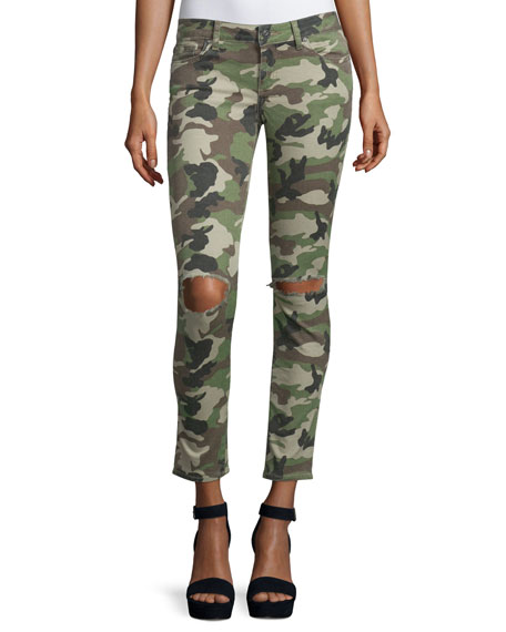 DL1961 Premium Denim Emma Camouflage Distressed Skinny Jeans,