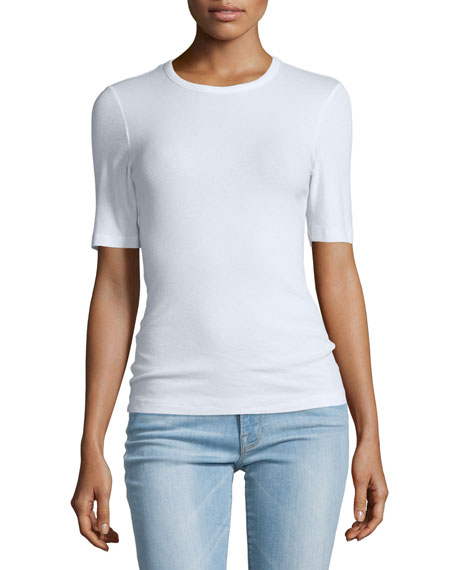 Le Fitted Half-Sleeve Tee, Blanc