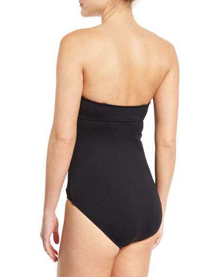 Ruched-Panel Maillot One-Piece Swimsuit, Black