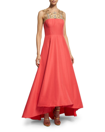 Sleeveless Beaded-Yoke High-Low Gown