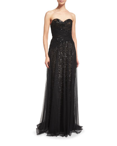 Strapless Sequined Tulle Overlay Gown