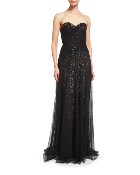 2c04d944 Marchesa Notte Strapless Sequined Tulle Overlay Gown