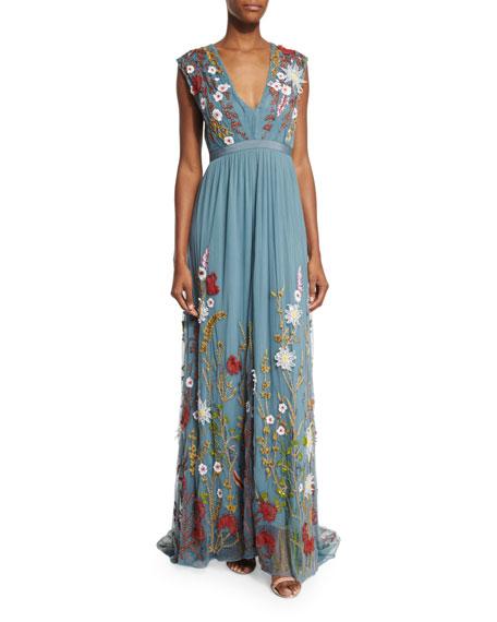 abc199e976d Alice + Olivia Merrill Floral-Embroidered Sleeveless Maxi Dress