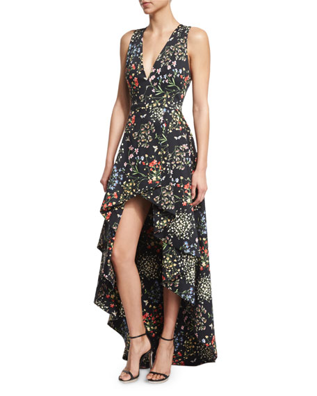 floral print v-neck dress - Black Alice & Olivia