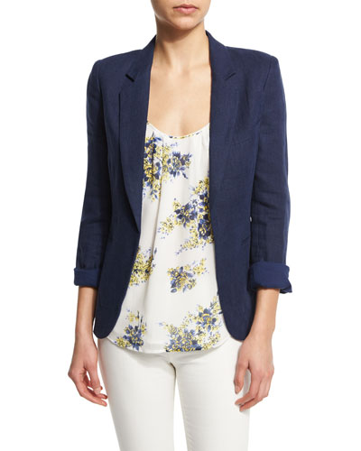 Mehira Open-Front Linen Jacket
