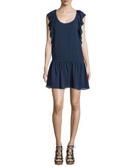 Larose Ruffled Silk Dress
