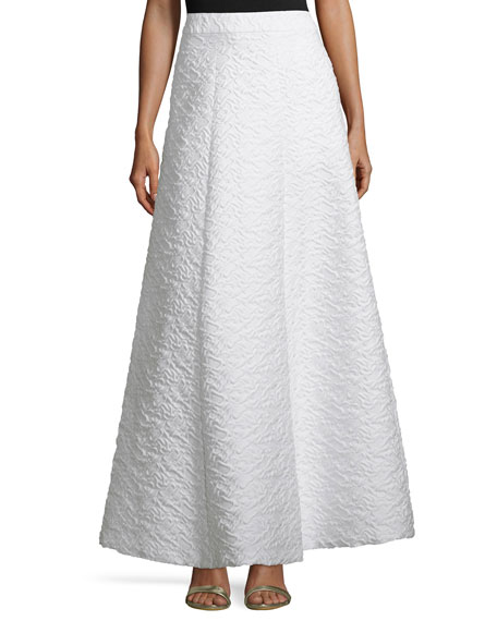 Alice + Olivia Carina Jacquard Ball Skirt, White