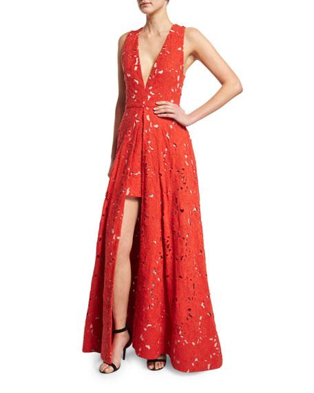 Alice + Olivia Francis Sleeveless V-Neck Flared Lace Gown