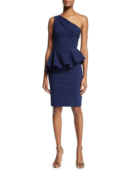 One-Shoulder Peplum Cocktail Dress, Blue Notte