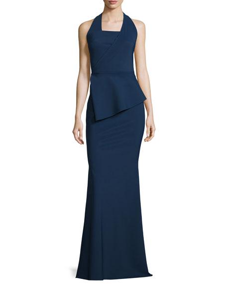 Jill Sleeveless Asymmetric Peplum Halter Gown